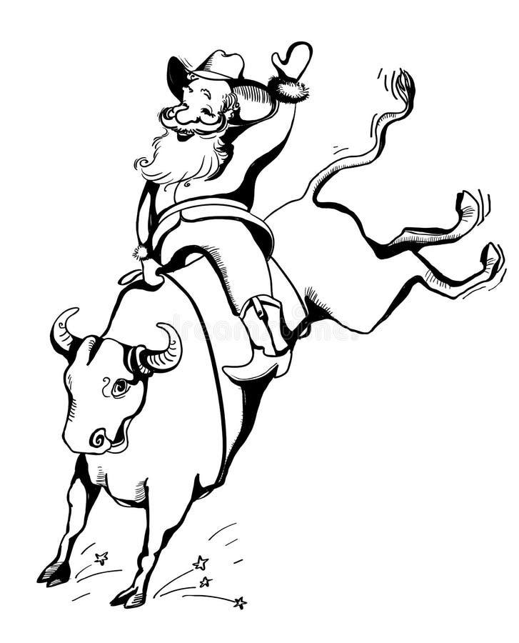 圈地的牛仔圣诞老人 西部圈地公牛骑马 皇族释放例证