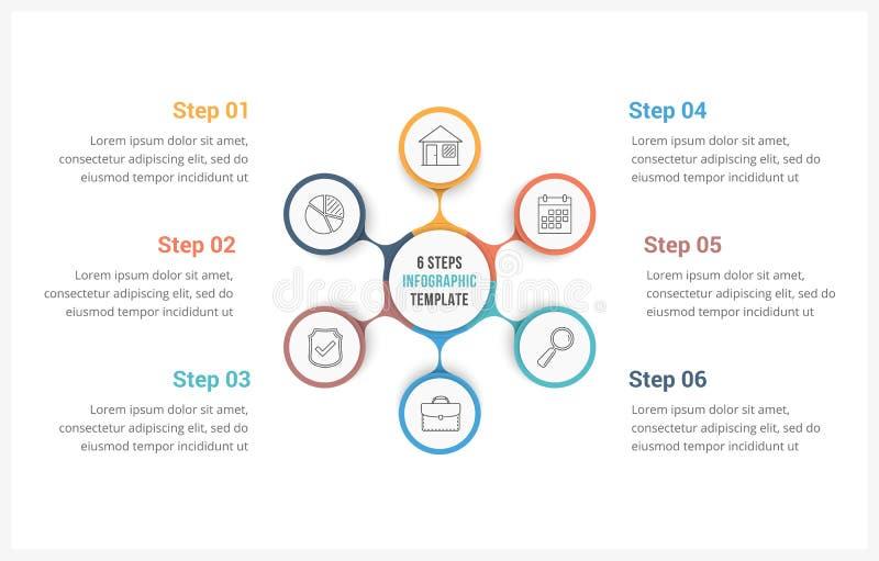 圈子与六个元素的Infographics模板 向量例证