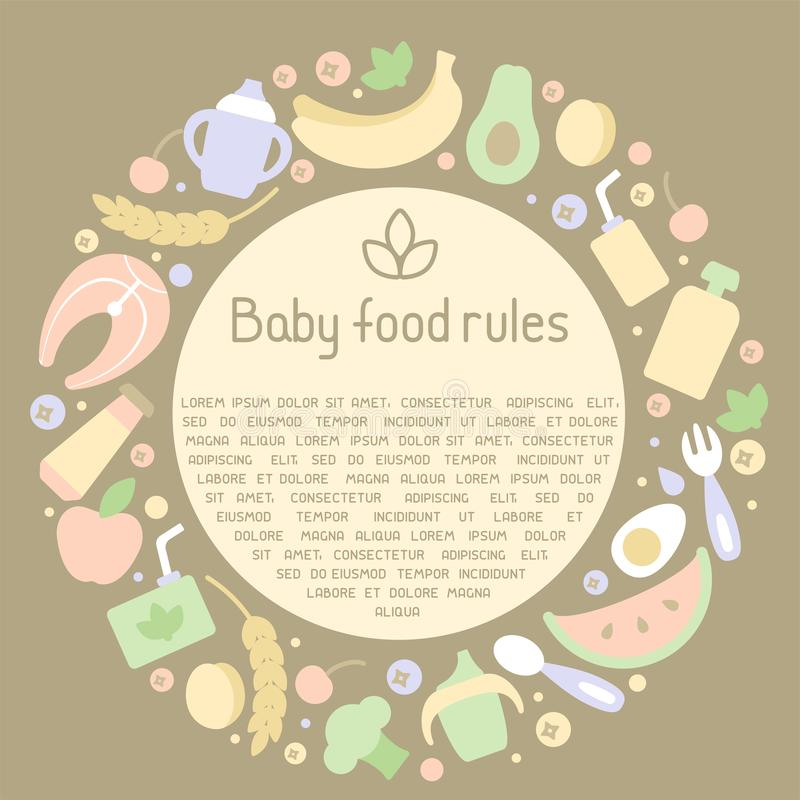 圈子与婴儿食品元素和样品文本的框架概念 库存例证