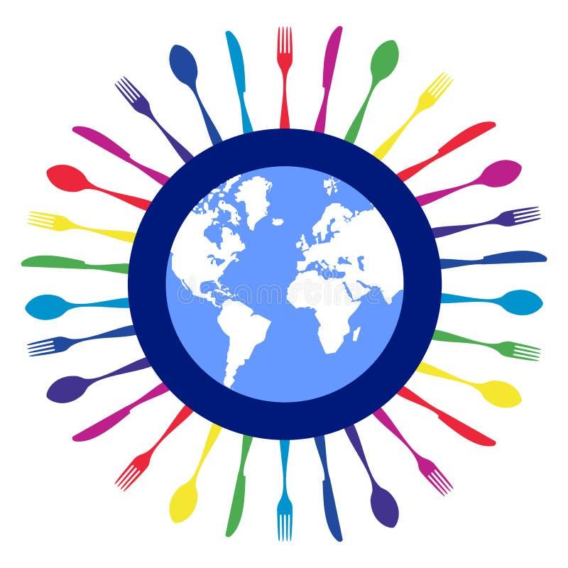 圈子五颜六色的刀叉餐具设计餐馆 向量例证