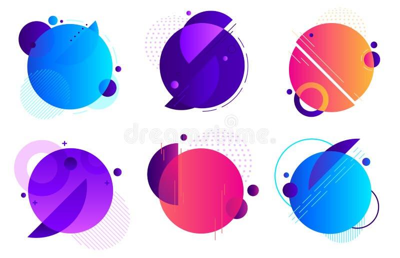 圈子几何徽章 时髦圆的框架、颜色梯度最小的徽章和抽象框架模板布局 向量例证