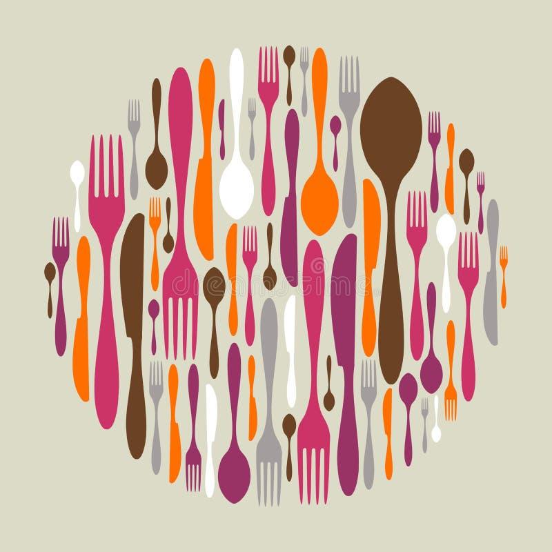 圈子刀叉餐具图标做形状 向量例证