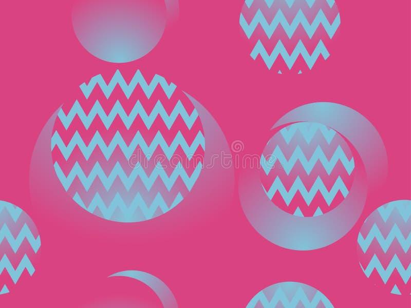 圈子和之字形,仿照20世纪80年代样式的几何无缝的样式 Retrowave 向量 向量例证