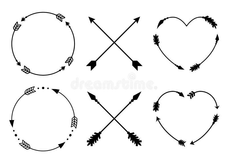 圈子和心脏组合图案的箭头框架 Criss十字架行家箭头 在boho样式的箭头 被设置的部族箭头 向量 皇族释放例证