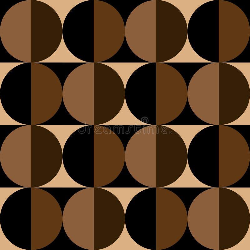 圈子和正方形的无缝的样式在咖啡颜色 库存例证