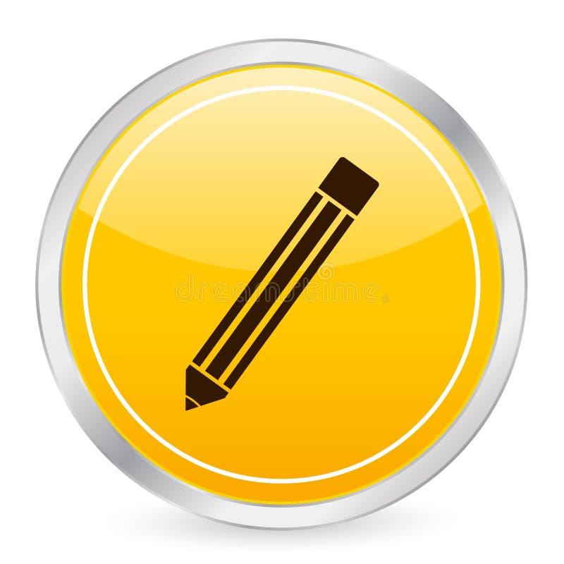 圈子图标铅笔黄色 皇族释放例证