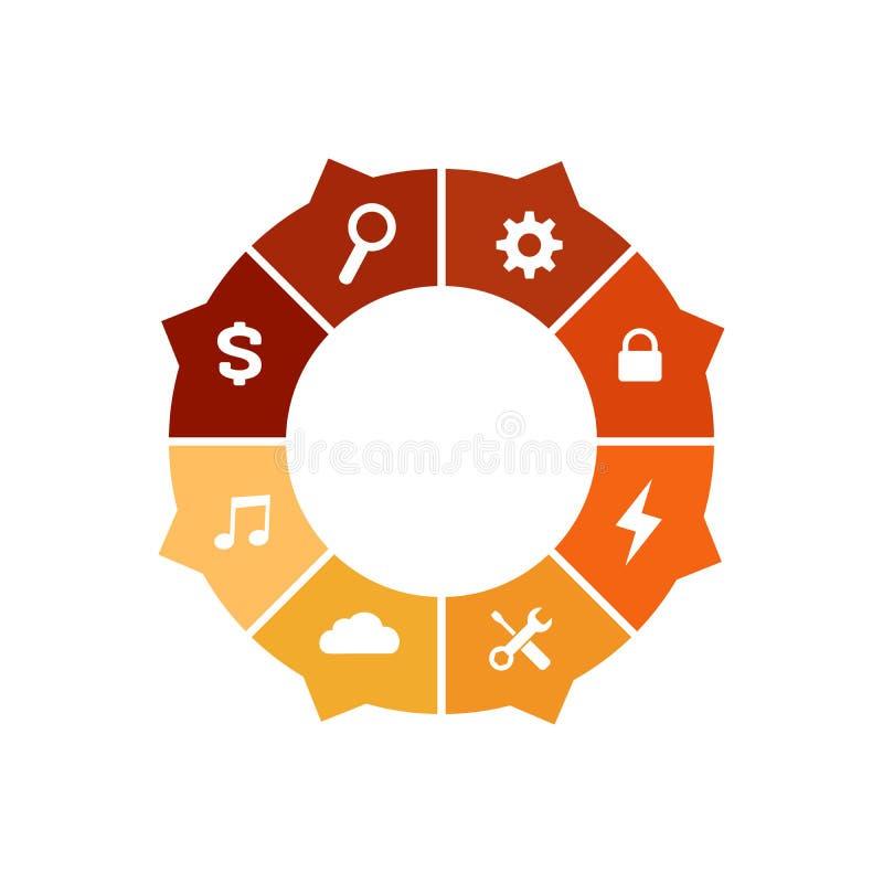 圈子图infographic模板与箭头和与8选择或步和额外象介绍的,广告,布局 皇族释放例证