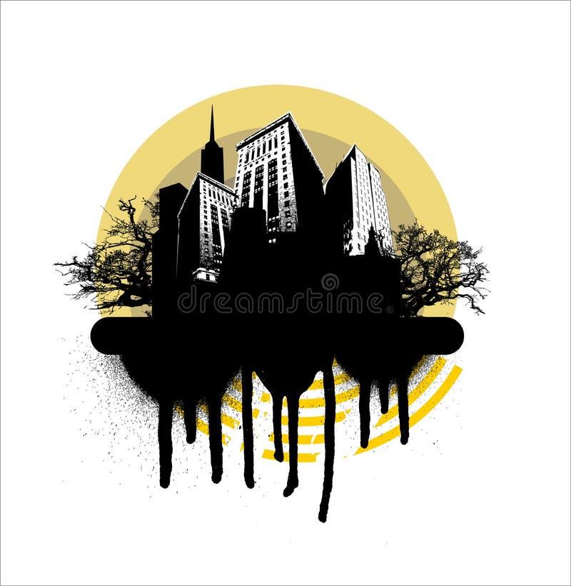 圈子城市grunge黄色 库存例证