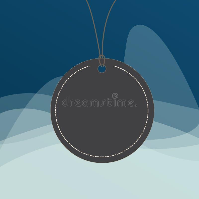 圈子塑造了在上面的黑串附有的标签 与一枚小被环绕的空的徽章的五颜六色的背景上色了 库存例证