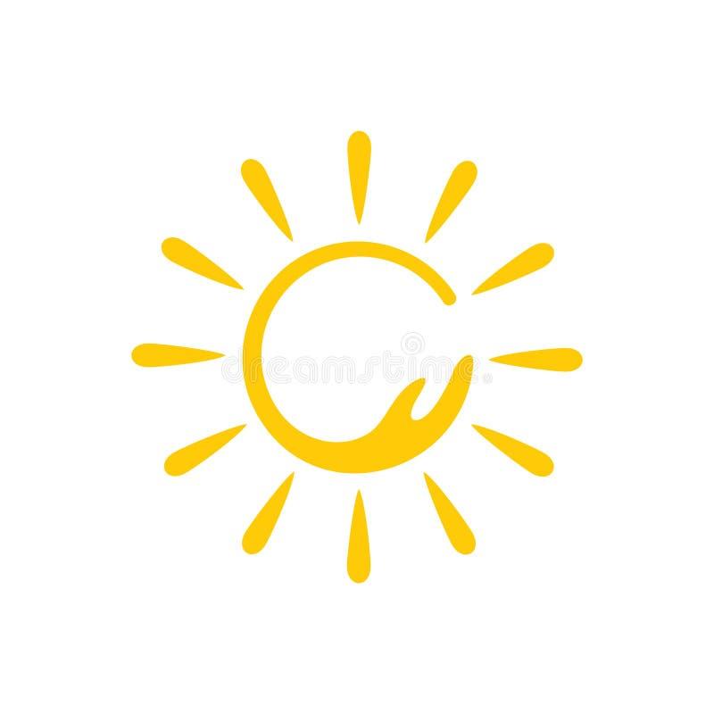 圈子太阳挥动简单的亮光光芒商标传染媒介 皇族释放例证
