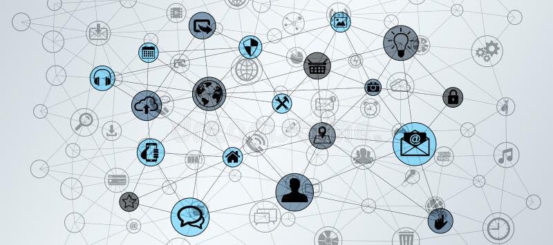 圈子技术连接数据网3D翻译 向量例证
