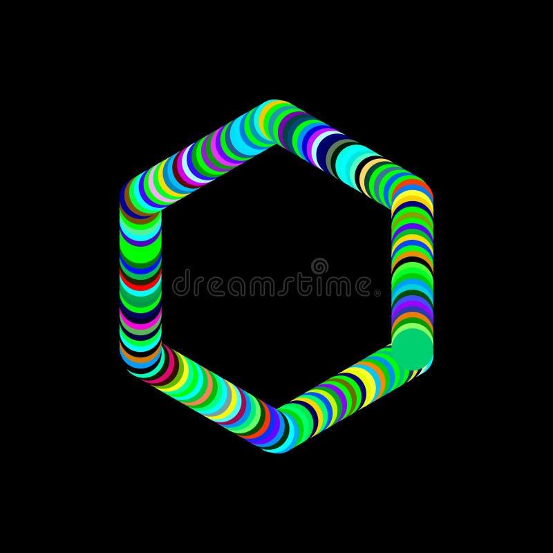 圈子抽象六角框架  查出在黑色背景 库存例证