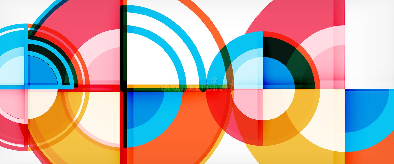 圈子摘要背景,明亮的五颜六色的回合几何形状 向量例证