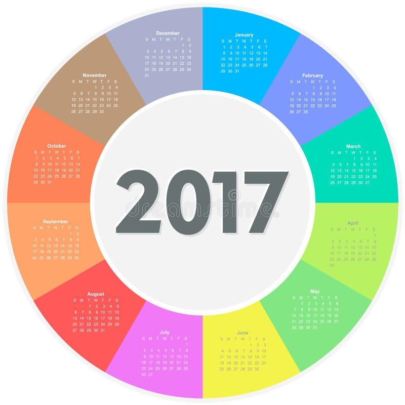 圈子日历2017年 向量例证