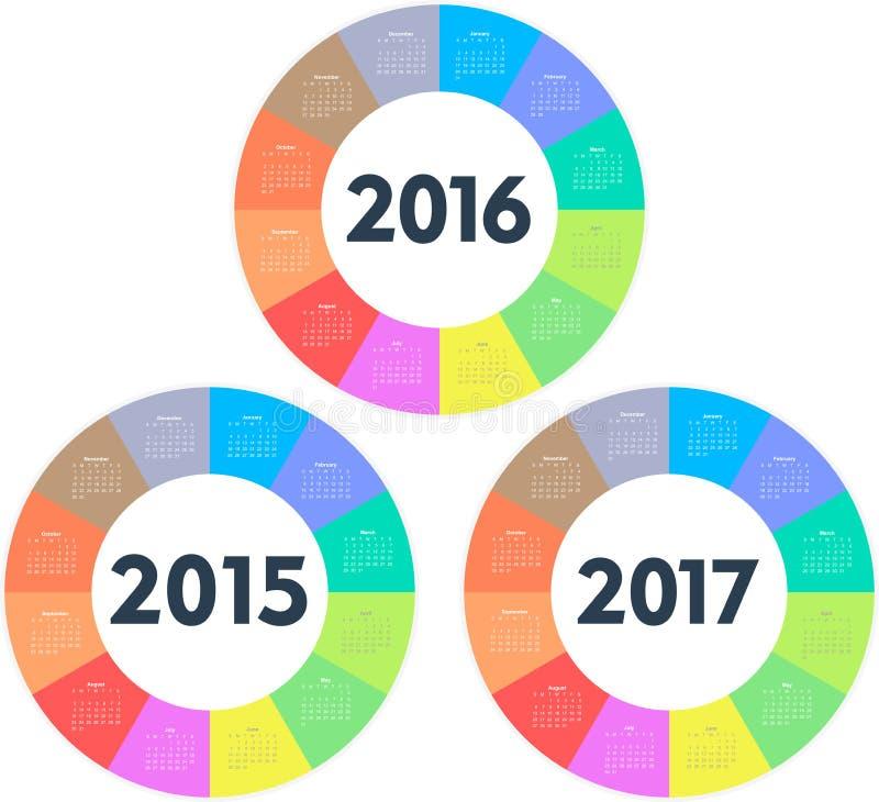 圈子日历2015 2016 2017年 库存例证