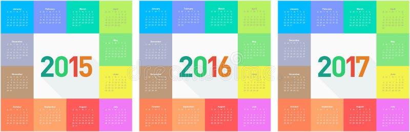 圈子日历2015 2016 2017年 向量例证