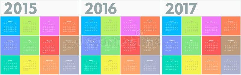圈子日历2015 2016 2017年 皇族释放例证