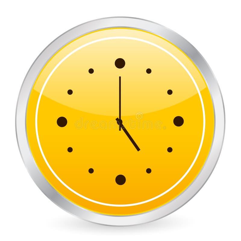 圈子时钟图标黄色 向量例证
