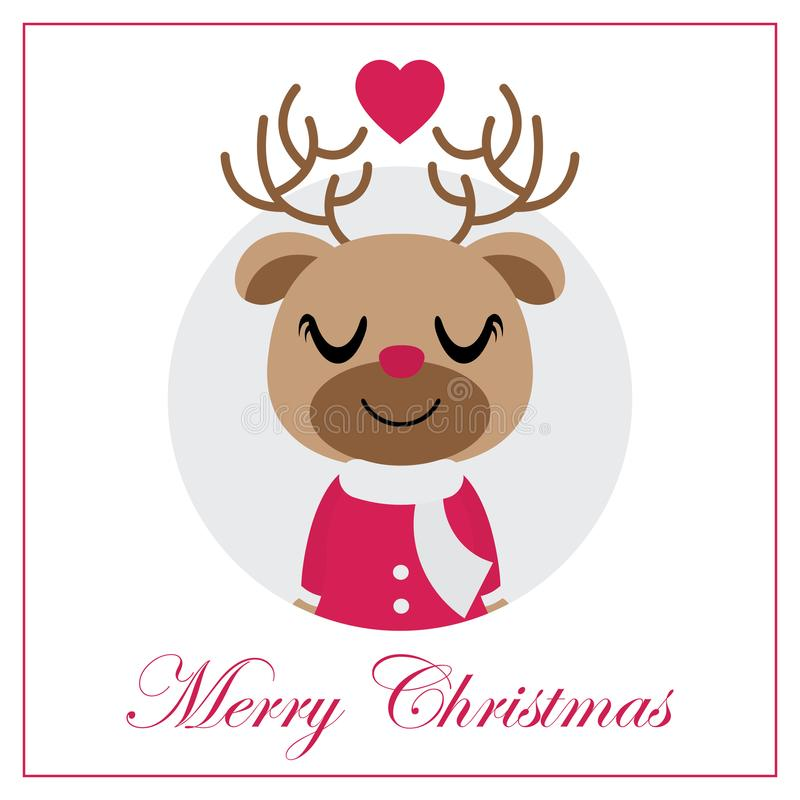 圈子框架传染媒介动画片例证的逗人喜爱的驯鹿女孩圣诞卡设计的 向量例证