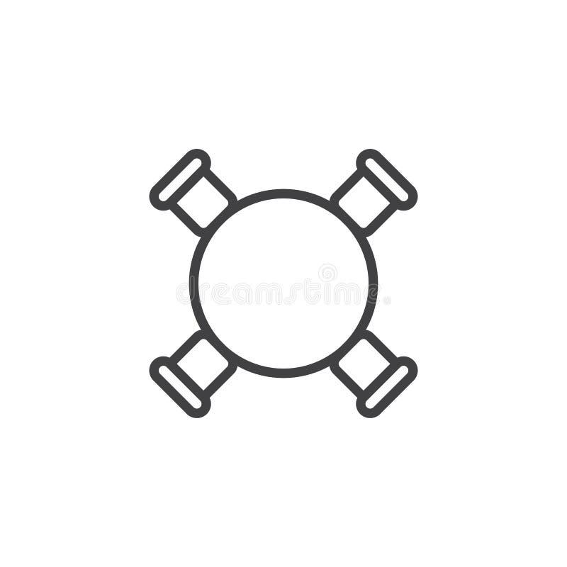 圈子桌和椅子顶视图概述象 皇族释放例证