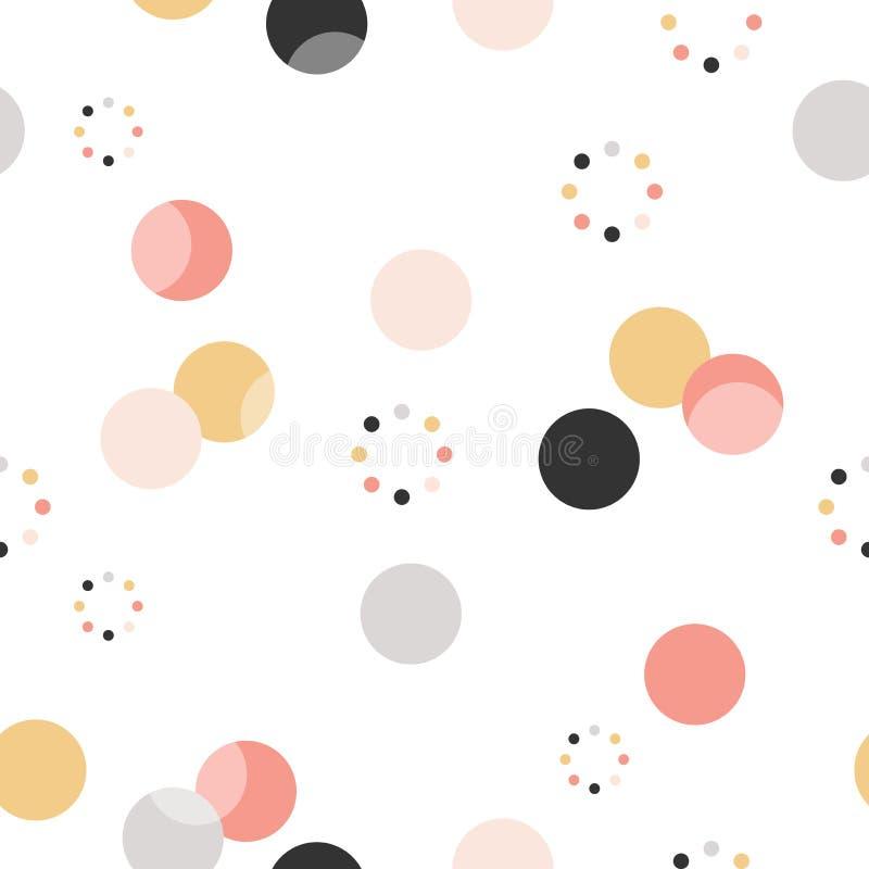 圈子模式 现代时髦的纹理 重复小点,墙纸的圆的抽象背景 皇族释放例证