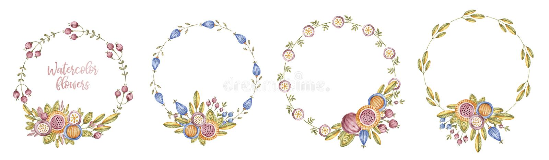 圈子水彩在白色设置的花框架 库存照片