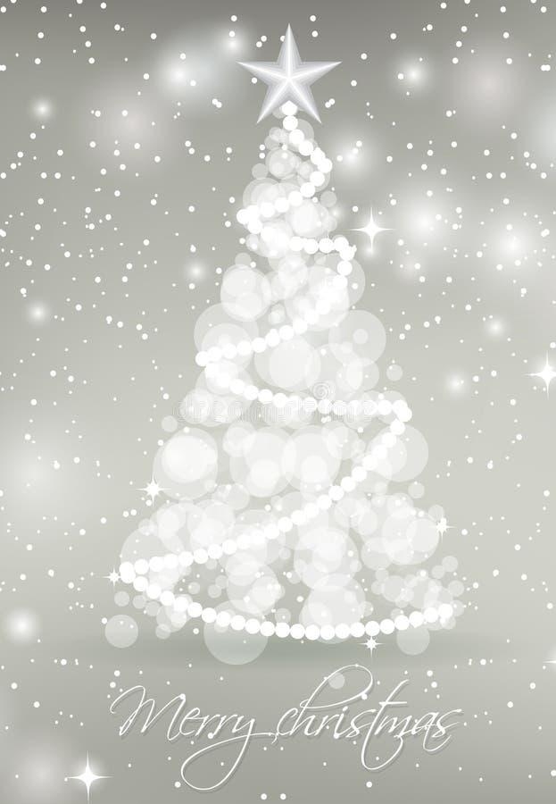 从圈子的抽象圣诞树在与星和雪花的银色背景点燃 库存例证
