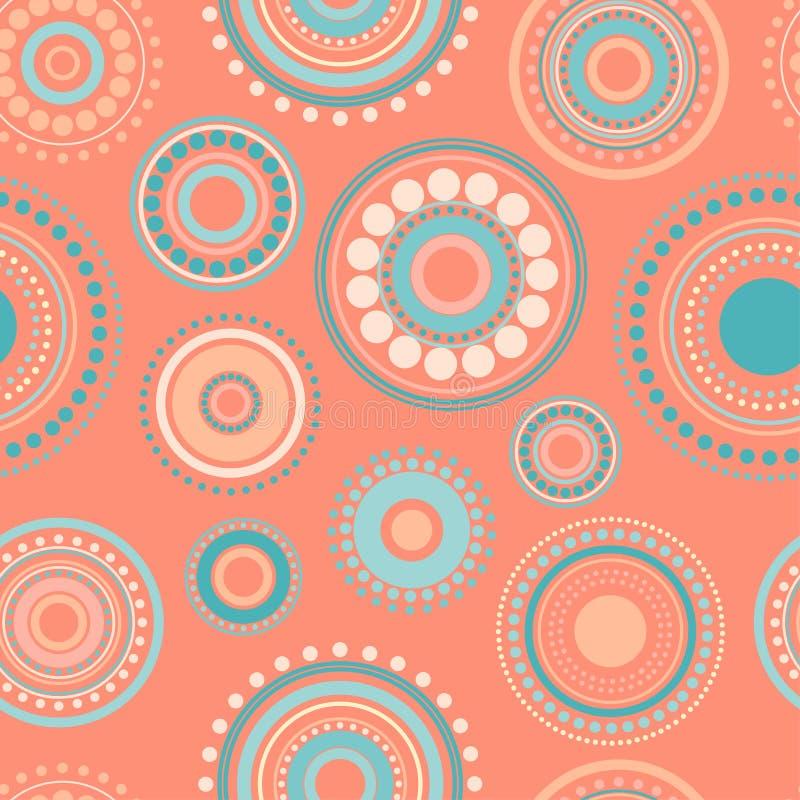 圈子的无缝的抽象桔子和绿松石颜色样式和小点  万花筒背景 皇族释放例证