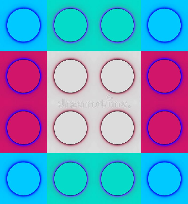 圈子的样式在正方形的在蓝色、水色和桃红色 免版税库存图片