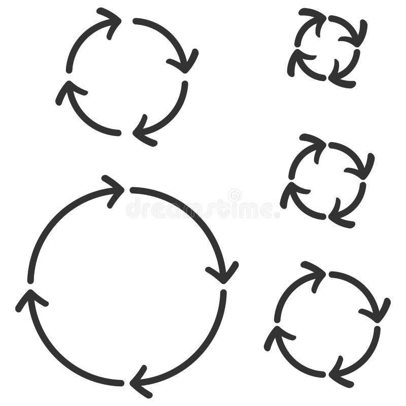 圈子箭头 黑平的标志 向量例证