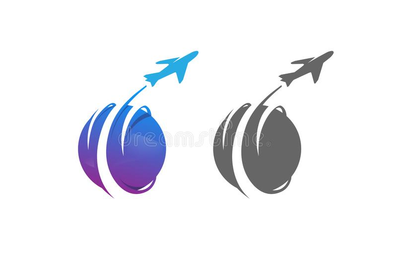 圈子行星旅行飞机创造性的设计商标 向量例证
