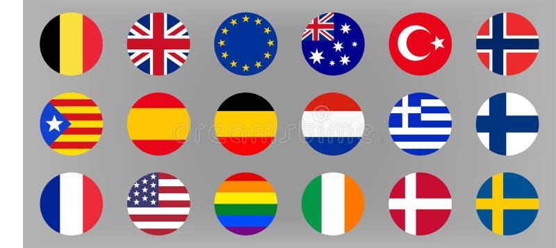 圈子被设置的世界旗子 欧洲、澳大利亚和美国 库存例证