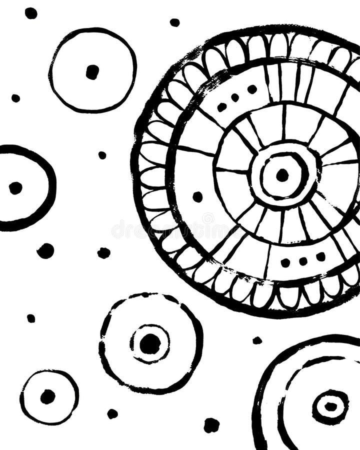 圈子象 打印的抽象内部海报 手拉的肮脏的难看的东西样式 库存例证