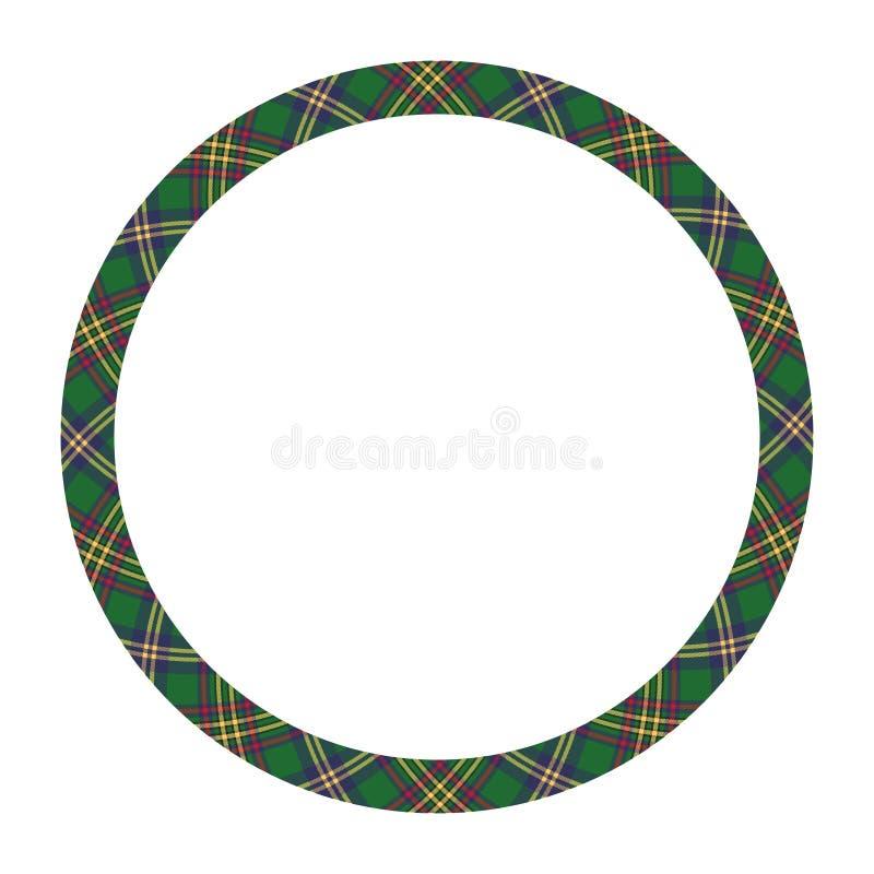 圈子边界和框架导航 圆的边界样式几何葡萄酒框架设计 苏格兰格子花织品纹理 皇族释放例证