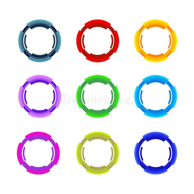 圈子集合 也corel凹道例证向量 抽象工商界总公司图标媒体样式 公司,媒介,技术样式商标设计模板 T 向量例证