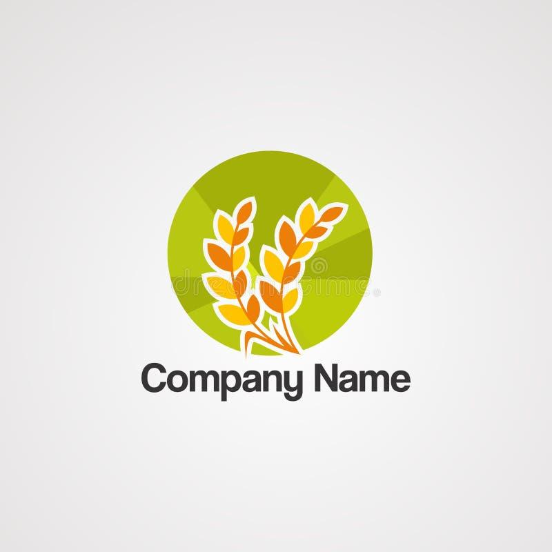 圈子麦子食物商标传染媒介、象、元素和模板 向量例证