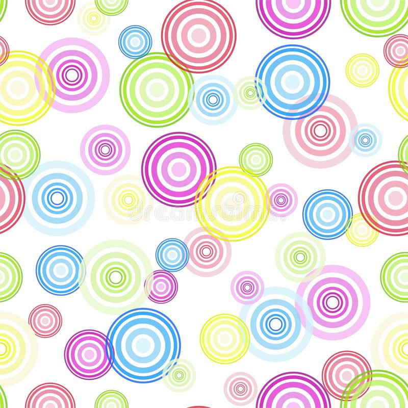圈子 无缝抽象几何的模式 红色和蓝色和黄色和绿色圈子 向量例证