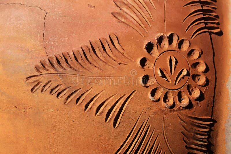 黏土与样式的陶瓷纹理、样式、背景,泥罐片段和裂缝 免版税图库摄影