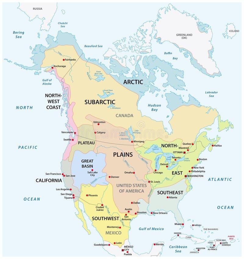土产的北美的传统文化地区 皇族释放例证
