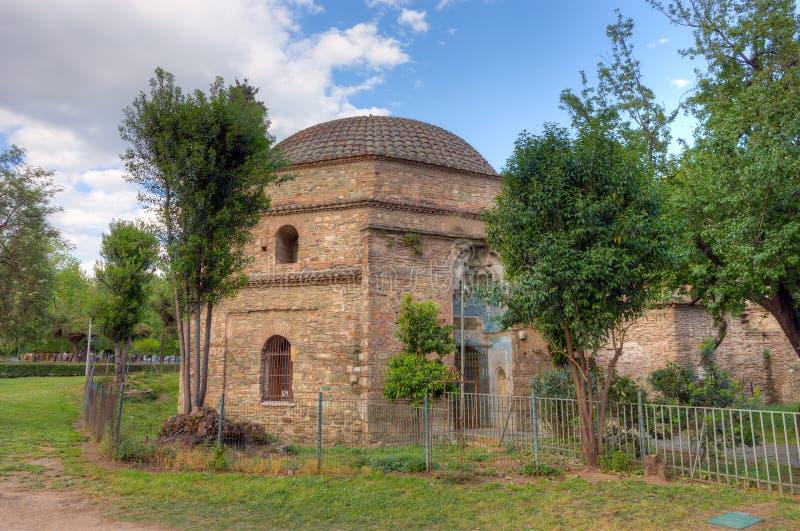 土侯Hamam,沿Egnatia街道的无背长椅公共浴室位于塞萨罗尼基,马其顿,希腊 库存照片