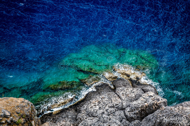 土地和海在罗得岛海岛希腊 库存图片
