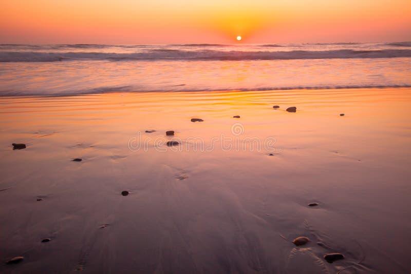 土地3月海滩日落 免版税图库摄影
