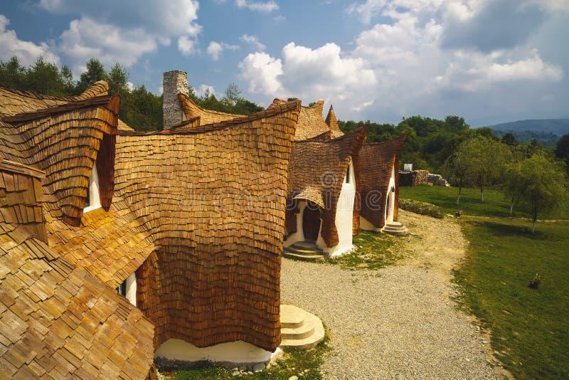 黏土城堡,神仙的谷,罗马尼亚- 2016年7月27日-退休金 库存照片