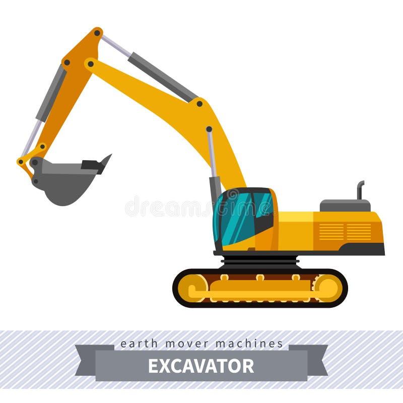 土堤操作的挖掘机 皇族释放例证