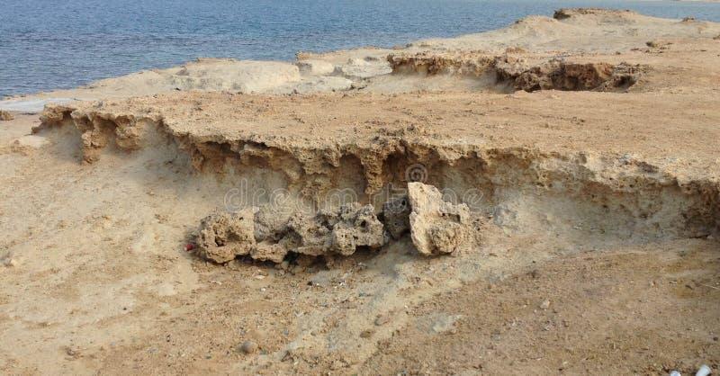 土壤侵蚀在沙特阿拉伯 免版税库存图片