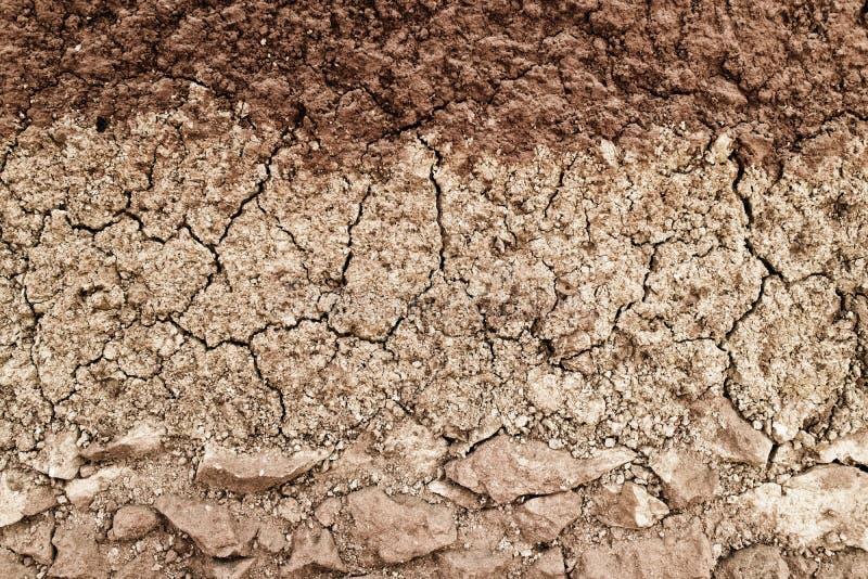 土壤和黏土层数纹理的横断面 免版税库存图片