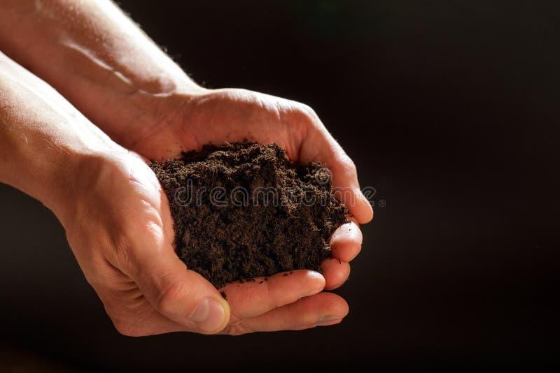 土壤在黑暗的背景的男性手上 库存图片