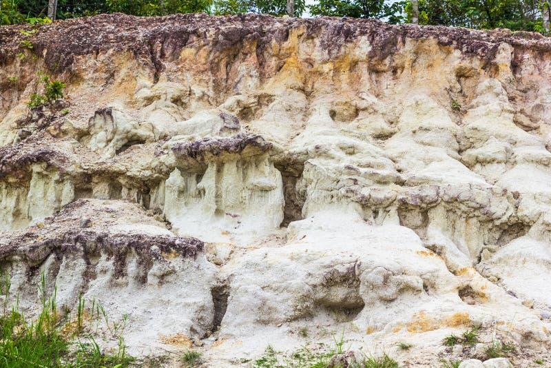 土壤层数,在峭壁的河道 库存照片