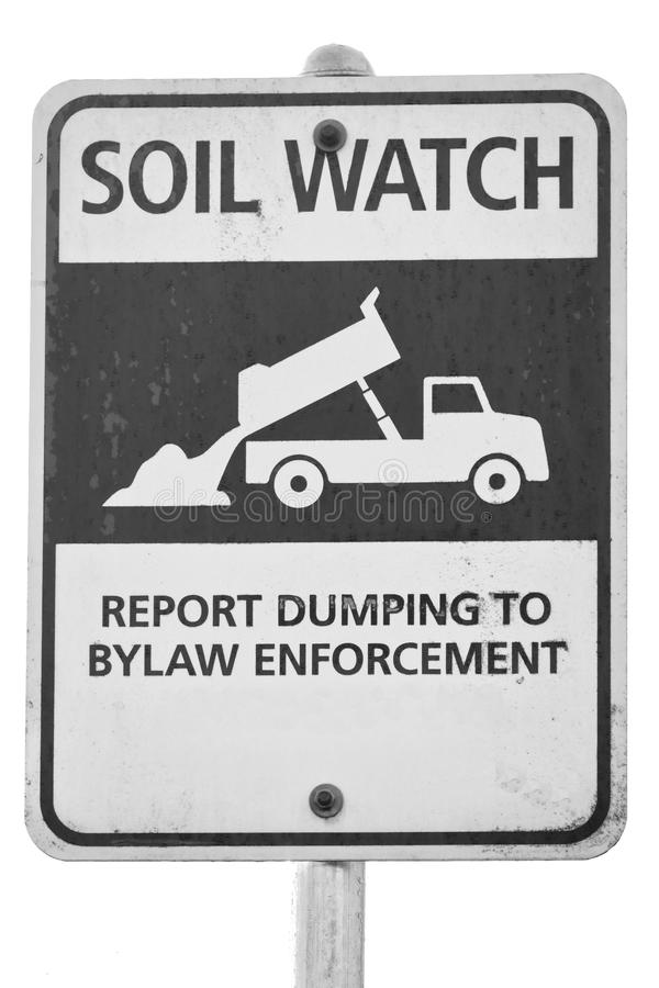 土壤手表非法倾销的标志 免版税库存照片