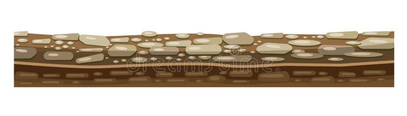 土壤,比赛的水平的地面纹理与岩石的 向量例证